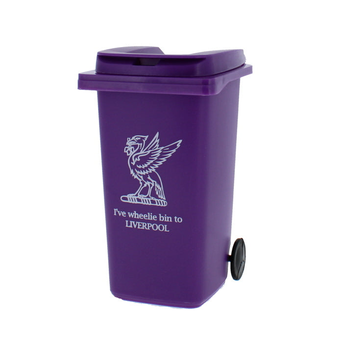 Small purple wheelie bin with the phrase 'I've wheelie bin to Liverpool' on it.