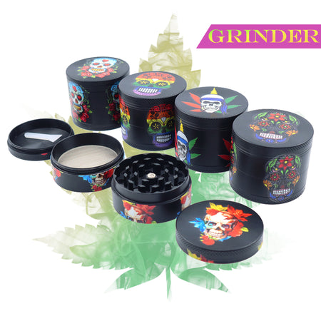 50mm 4-Layer Herb Grinder, Zinc Alloy with Magnetic Lid, Skeleton Design, for Cool Player