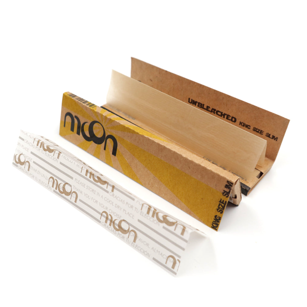 Unbleached King Size Slim Wood Rolling Papers – 50 Booklets - 1600 Leaves - 108*44mm – 100% Organic
