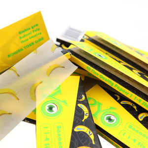 25 Booklets 1 1/4, 77*44mm,  Finest Flavor Rolling Papers 1000 Leaves, Banana