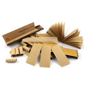 King Size Slim Unbleached Wood Rolling Papers – 25 Booklets - 800 Leaves 108*44mm + 800 Sheets Craft Tips – 100% Organic