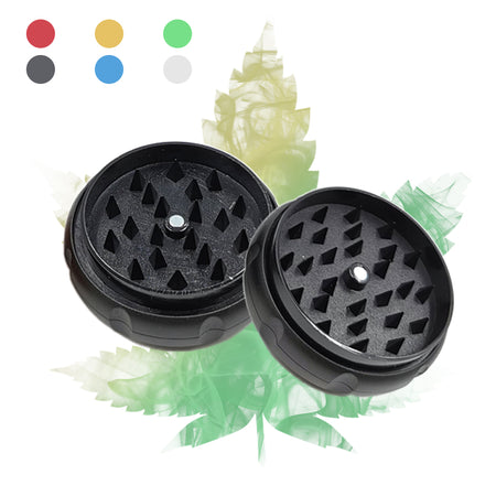 60mm 2-Layer Plastic Herb Grinder, 6 Colors Available