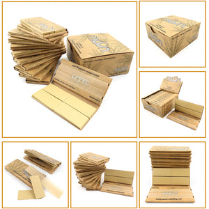 King Size Slim Unbleached Rolling Double Window Papers and Tips - 12 Booklets