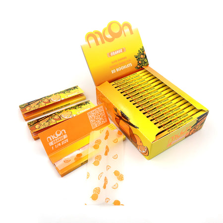 20 Booklets 1 1/4 , 77*44mm, Finest Flavor Rolling Papers 800 Leaves, Orange
