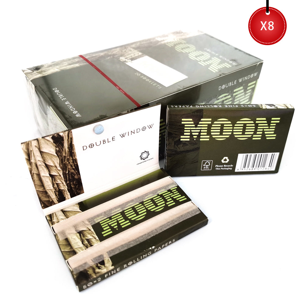 Double Window with Magnet Rolling Papers – 160 Booklets - Short Size 16000 Unbleached Leaves – 70*36mm