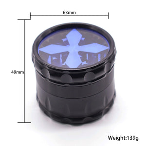 60mm 4-Layer Herb Grinder, Aluminum Alloy, 5 Colors Available