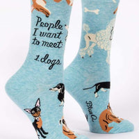 BLUE Q MEET DOGS CREW SOCKS
