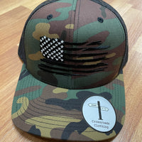 AMERICAN FLAG HAT CAMO WITH BLACK BACK