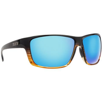 CALCUTTA THATCH SUNGLASSES WITH BLACK WOOD FRAME AND BLUE MIRROR LENS