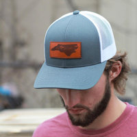North Carolina Leather Patch Trucker Graphite/White