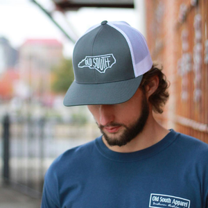 NC Letter Trucker Hat Graphite/White