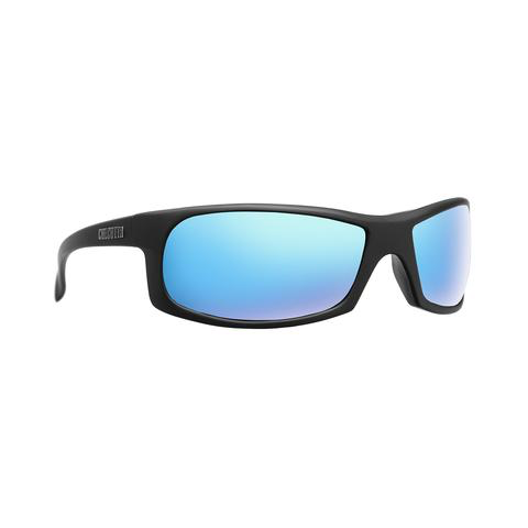 CALCUTTA JEKYLL SUNGLASSES WITH MATTE BLACK FRAME AND BLUE MIRROR LENS