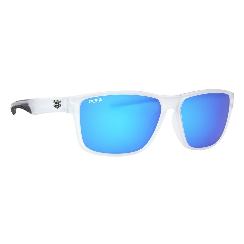 CALCUTTA JETTY SUNGLASSES WITH CRYSTAL SMOKE FRAME AND BLUE MIRROR LENS