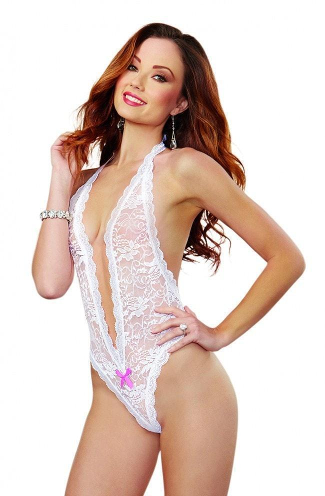 Dreamgirl Loveheart Cut Out Bodysuit White