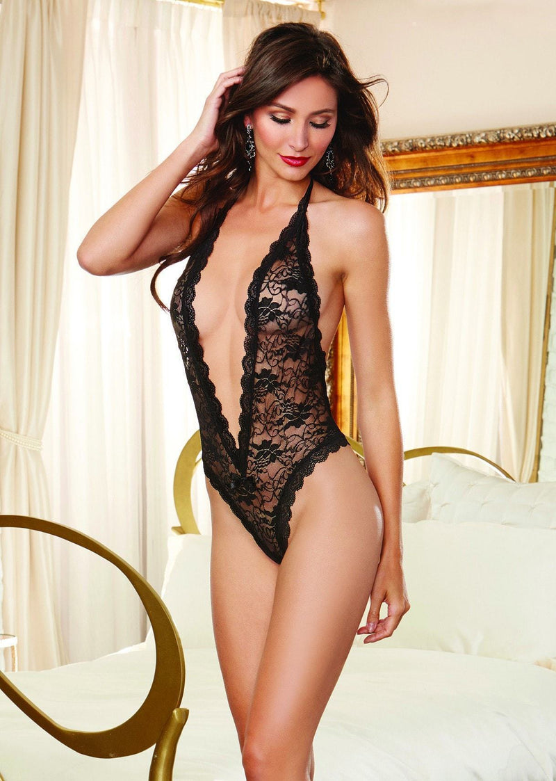 Dreamgirl Loveheart Cut Out Bodysuit Black