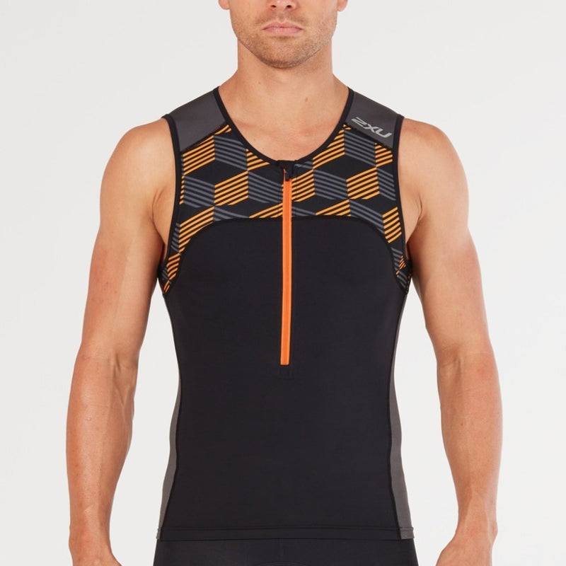 2XU Active Tri Singlet, Herren, schwarz/orange