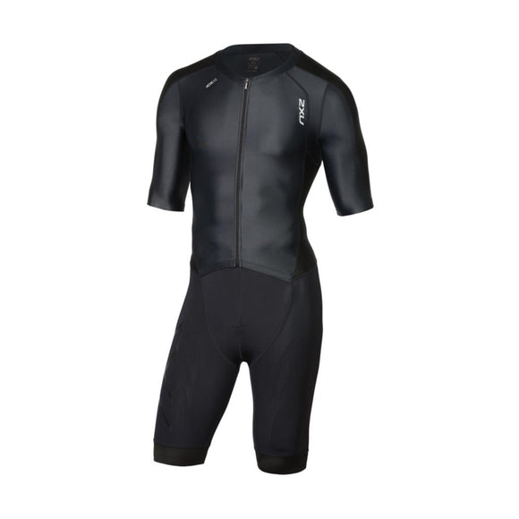 2XU Compression Full Zip Sleeved TriSuit, Herren, schwarz/schwarz