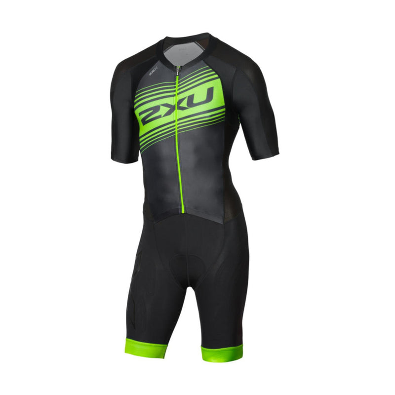 2XU Compression Full Zip Sleeved TriSuit, Herren, schwarz/grün