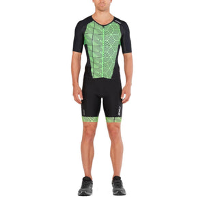 2XU Perform Full Zip Sleeved TriSuit, Herren, schwarz/grün