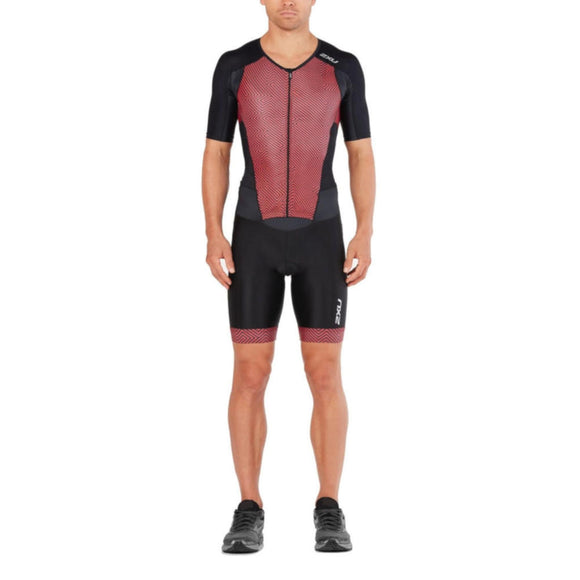 2XU Perform Full Zip Sleeved TriSuit, Herren, schwarz/rot