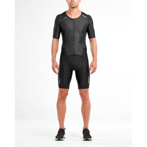 2XU Perform Full Zip Sleeved TriSuit, Herren, schwarz/schwarz