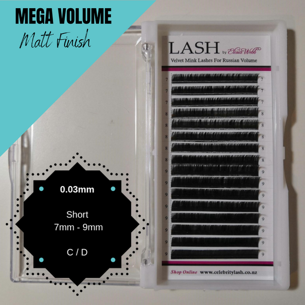 LASH Velvet Mink 0.03mm 7mm - 9mm Mixed Tray (Black)