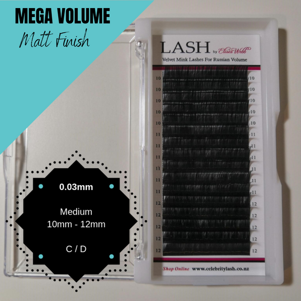 LASH Velvet Mink 0.03mm 10mm - 12mm Mixed Tray (Black)