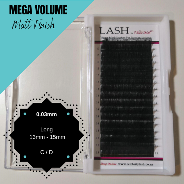 LASH Velvet Mink 0.03mm 13mm - 15mm Mixed Tray (Black)