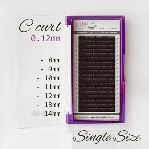Premium Silk Lashes C Curl 0.12mm Single Size (Black)