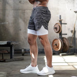 Camo 2 in 1 Running Shorts Men's Gym Fitness Training Quick Dry Short Pants Male Outdoor Sport Jogging Built-in pocket Bermuda