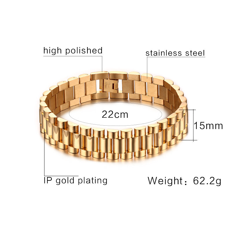 Vnox Men's Bracelet Gold-color Chunky Chain Bracelets Bangles Stainless Steel Male Jewelry Drop Shipping