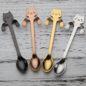 Cute Cat Teaspoons Stainless Steel Cartoon Cat spoons Creative Ice Cream Dessert Long Handle Coffee&Tea Spoon Tableware Colors