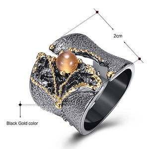 DreamCarnival 1989 New Arrival Fissure Rings for Women Split On Top Black Gold Color with Light Brown CZ Stone Wholesale WA11609