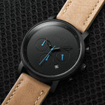 Chrono Analog Leather Metal For Men