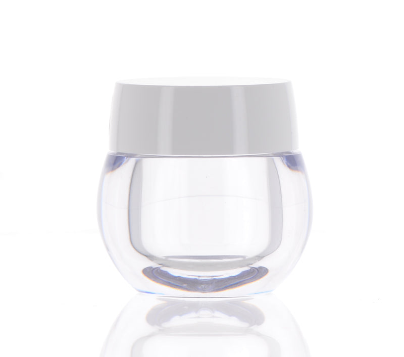 Circular Clear Jar with White Cap