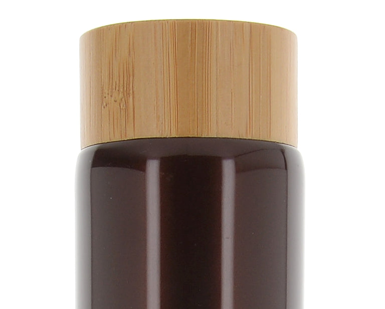 PE/Bamboo, Brown Tube with Screw Cap