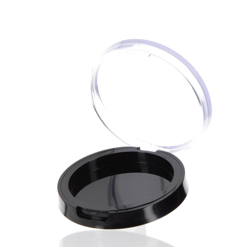 Black, Powder Compact with Clear Cap