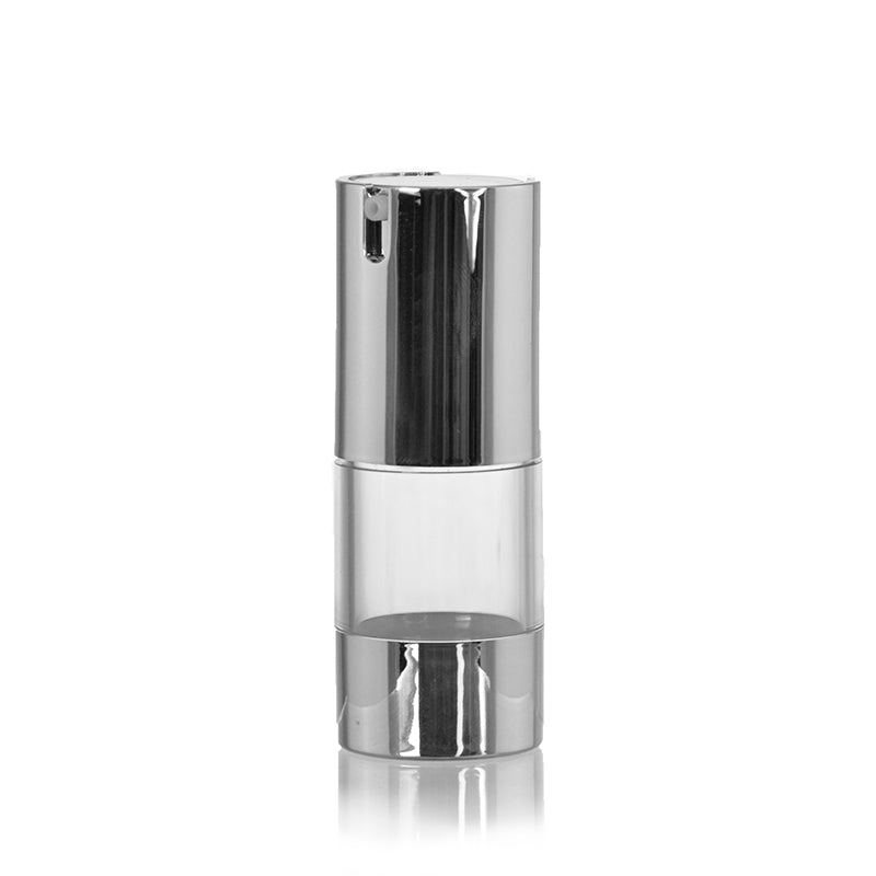 Clear Airless Bottle with Silver Pump #