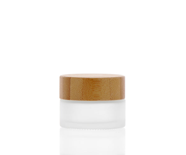 Frosted Glass Jar, Bamboo Cap, 15ml