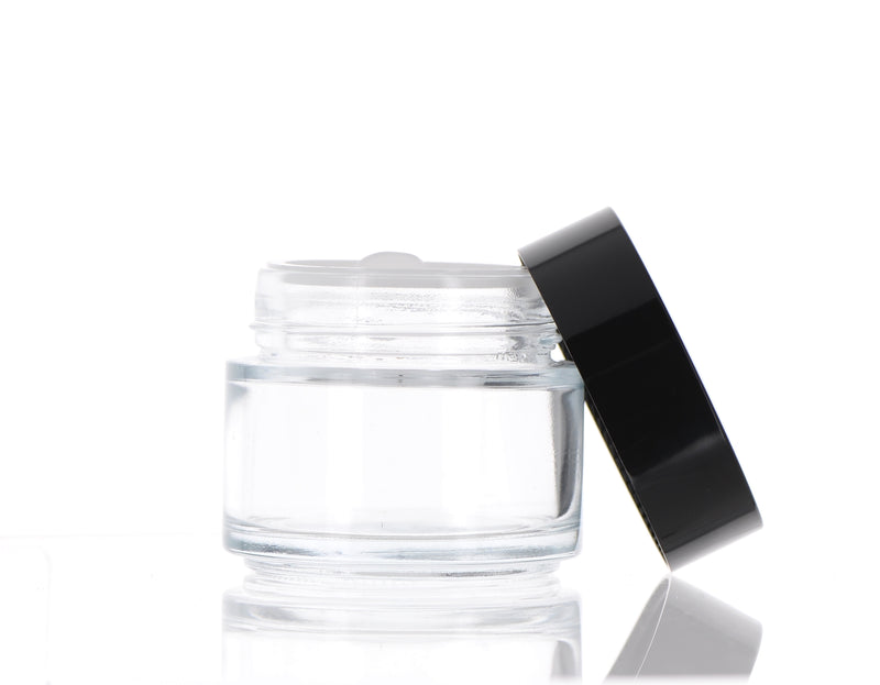 Round, Clear and Black Glass Jar, 100ml