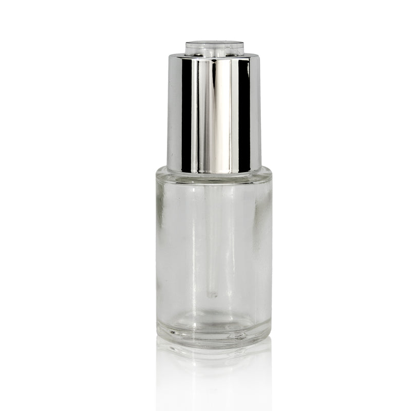 Button Dropper Glass Bottle Silver Down Lock