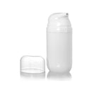 All White Airless Bottle with Clear Cap