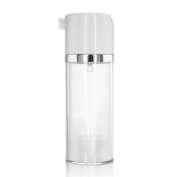 White Actuator Silver Neck Round Airless Bottle 80ml