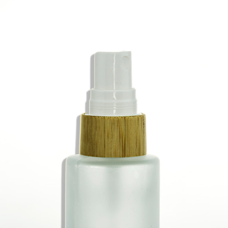 Bamboo Frost Glass Bottle with Fine Mist