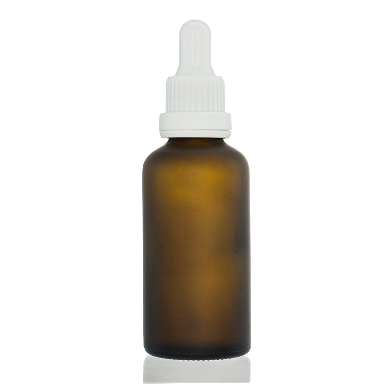 Amber Frosted Gloss Bottle with White Dropper