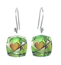 Green Exotic Heart Earrings
