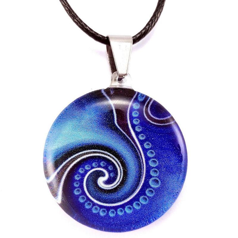 Blue Dot Wave Pendant