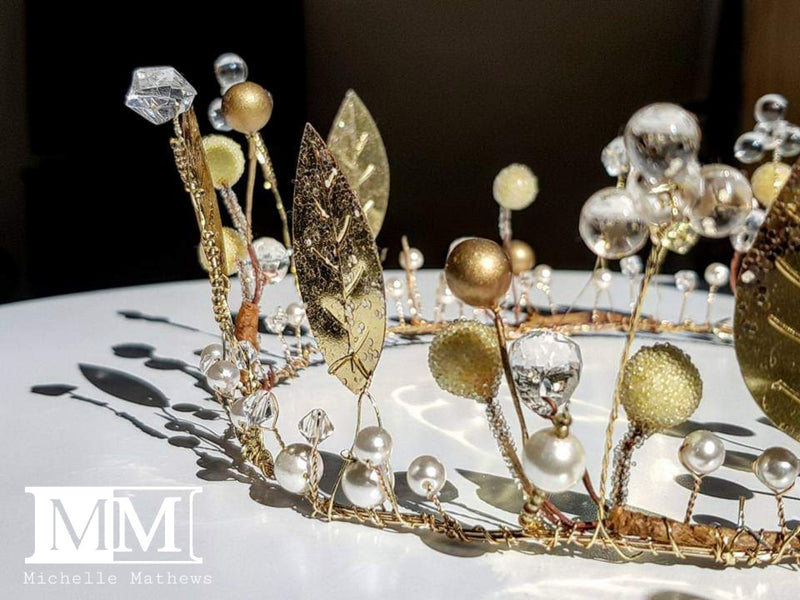 Handmade Gold Beaded Crown