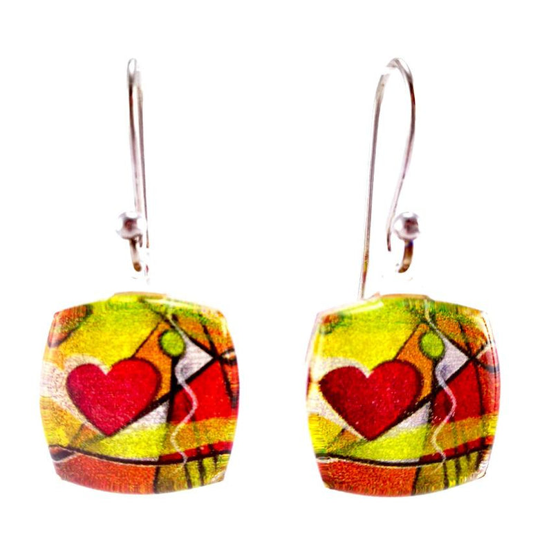 Orange Exotic Heart Earrings