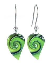 Green Mystic Wave Flow Earrings